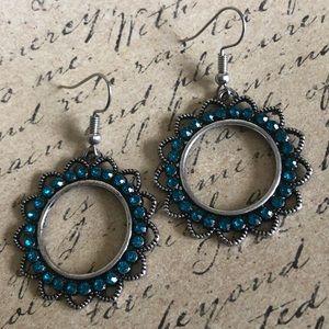 Jewelry - Beautiful Hoop Earrings With Teal Rhinestones